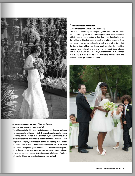 Andria Lavine Photography_Premier Atlanta Wedding Photographer_Published_BuckHaven Lifestyle Magazine-June Issue-Page 33-Photo